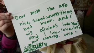 a daughter's thank you note for mother after tea therapy