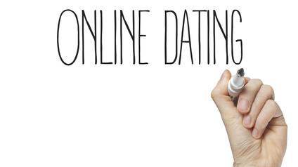a poster inscribed with words online dating