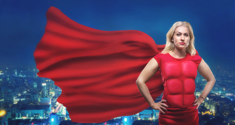 I'm going to be brave today: fearless woman in red cape